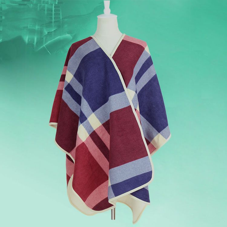 厂家订做欧美街头复合超细摇粒绒大披肩加厚保暖大格子披肩