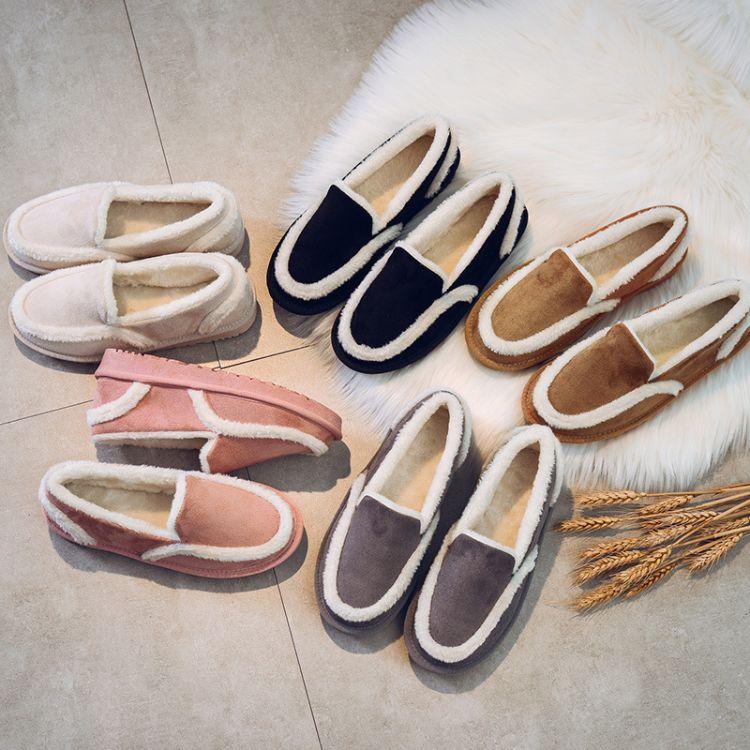 雪地靴女加绒保暖靴子2018冬季新款女靴平底短筒加厚棉鞋懒人鞋