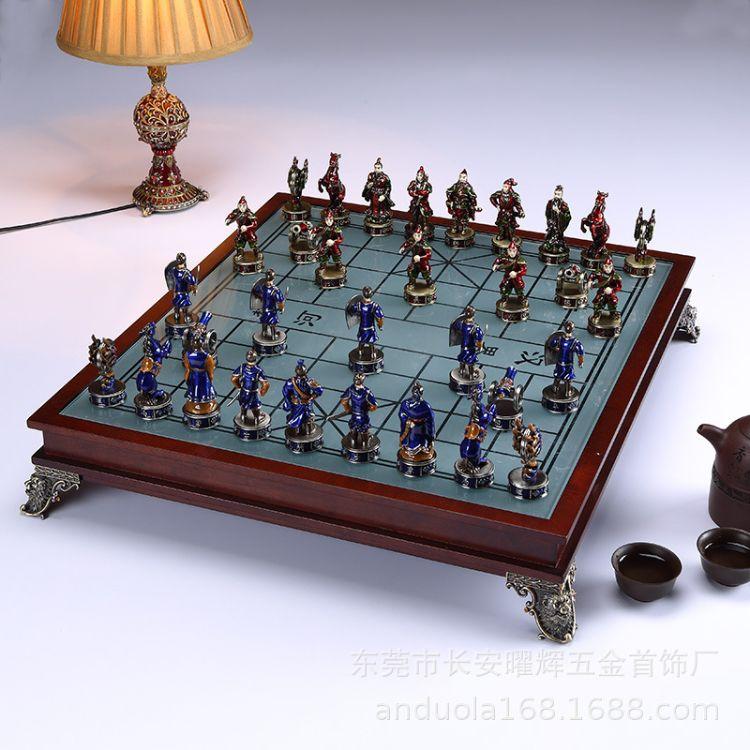 安朵拉 中国立体人物象棋珐琅彩工艺品彩绘实用家居摆件中国象棋
