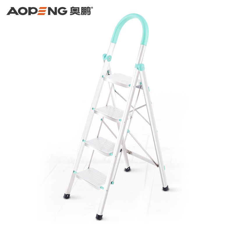 豪华不锈钢带扶手梯子 奥鹏正品家用收纳折叠梯 加厚人字扶梯楼梯