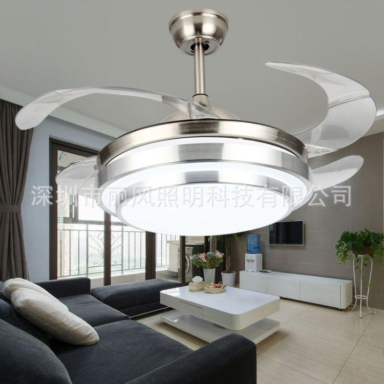 欧式中式北欧简约卧室客厅餐厅LED风扇吊扇双层铝隐形节能灯现代