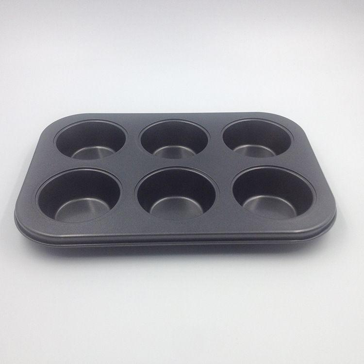 厂家直销 6孔圆形黑色不沾不粘蛋糕模具 DIY6连不粘烘焙烤盘模具