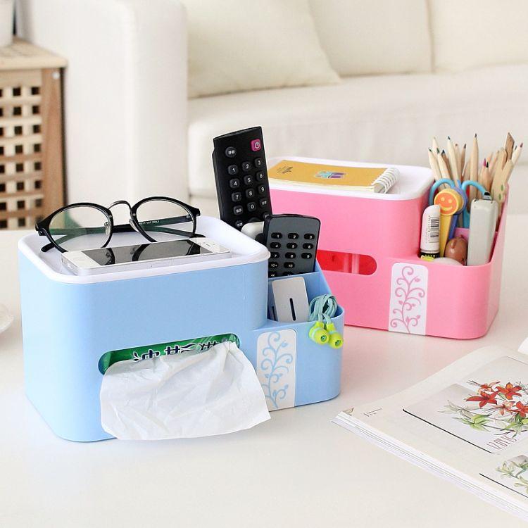 定制创意多功能纸巾盒塑料 办公桌面收纳盒家居用品