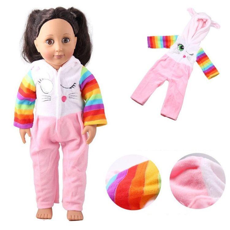 直销18寸美国女孩娃娃休闲衣服 45cm洋娃娃兔耳朵连体衣
