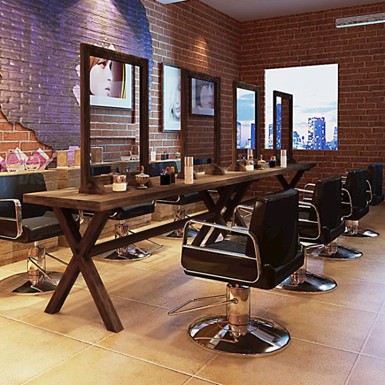 创意实木梳妆剪发化妆镜子复古单面壁挂镜发廊理发店双面美发镜台