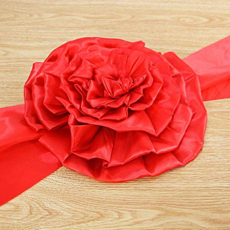 婚礼场景布置开业剪彩用品  结婚婚车副车大红花绸缎大花球25#