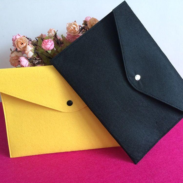 毛毡文件袋 商务办公A4资料按扣档案袋定制logo简约保单收纳包
