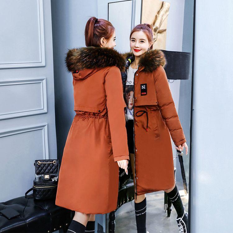18冬季新款女装中长款加厚棉袄外套韩版时尚大毛领双面穿羽绒棉衣