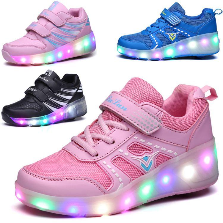 跨境货源新款暴走鞋 男女儿童溜冰鞋单双轮子LED灯鞋滑轮厂家批发