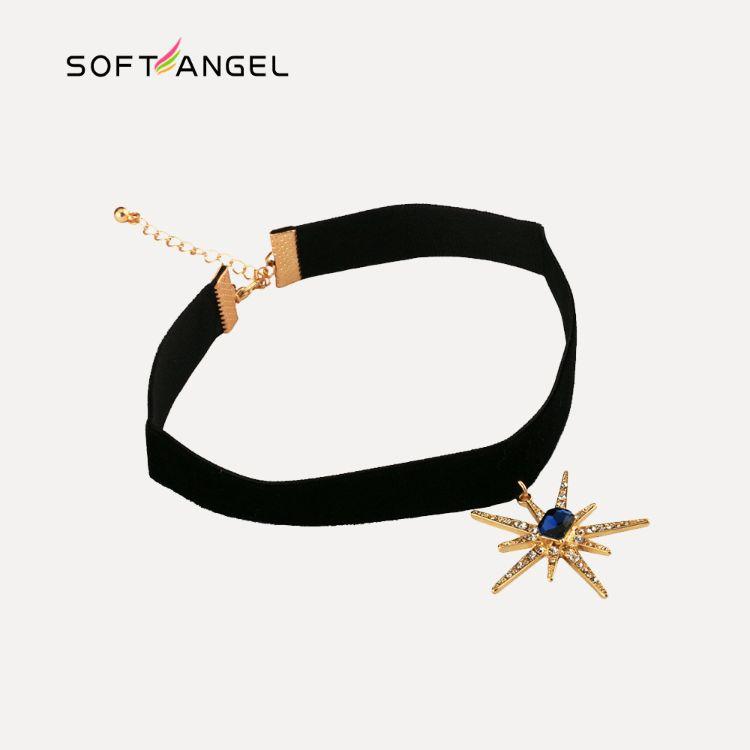 太阳花吊坠项圈女 欧美流行绒带宝石镶钻星星短款项链批发项饰品