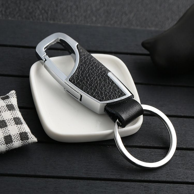 2019新款黑皮防滑钥匙扣 服饰箱包五金不锈钢配件定制厂家直销