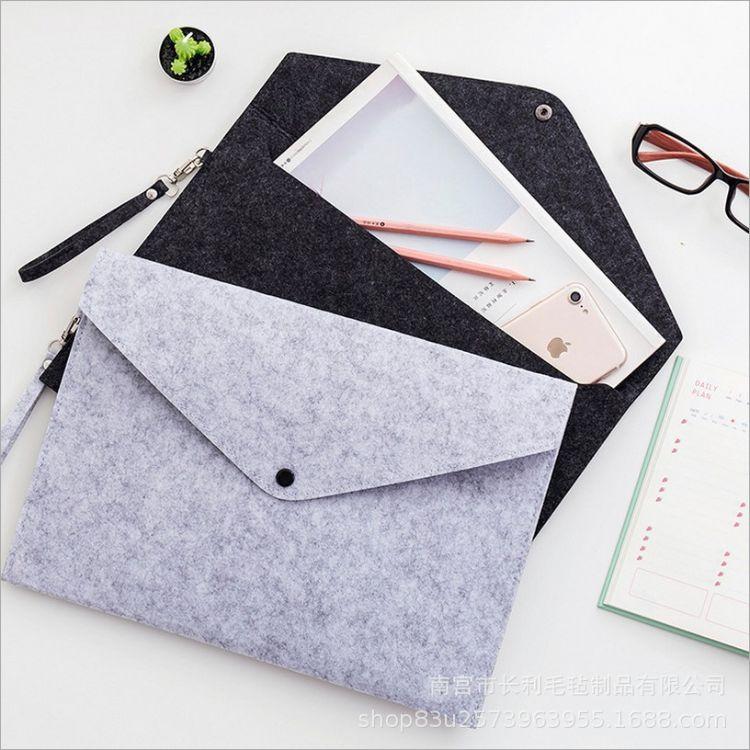 厂家直销毛毡A4大小档案袋考试票据收纳袋厂家现货批发可加印logo