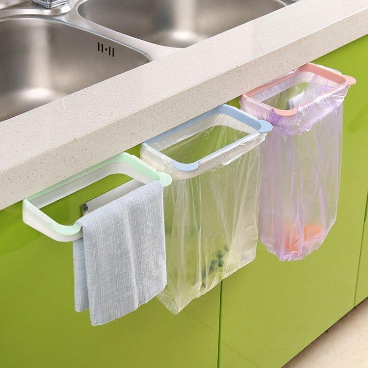 熊猫厨房可挂式垃圾架 橱柜门挂式多功能塑料袋垃圾袋架子批发