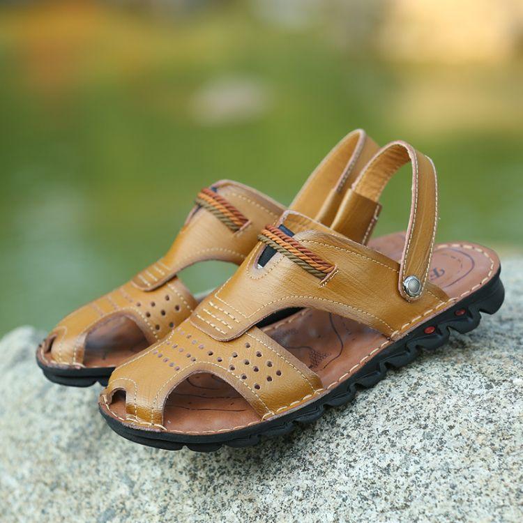 速卖通2017夏季新款真皮男士沙滩鞋软底户外皮凉鞋包头两穿凉拖鞋
