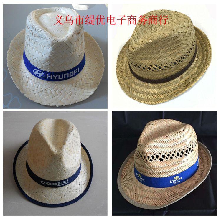 供应新款空心草帽 席草牛仔帽 蒲草帽子 葵叶草礼帽表演爵士帽