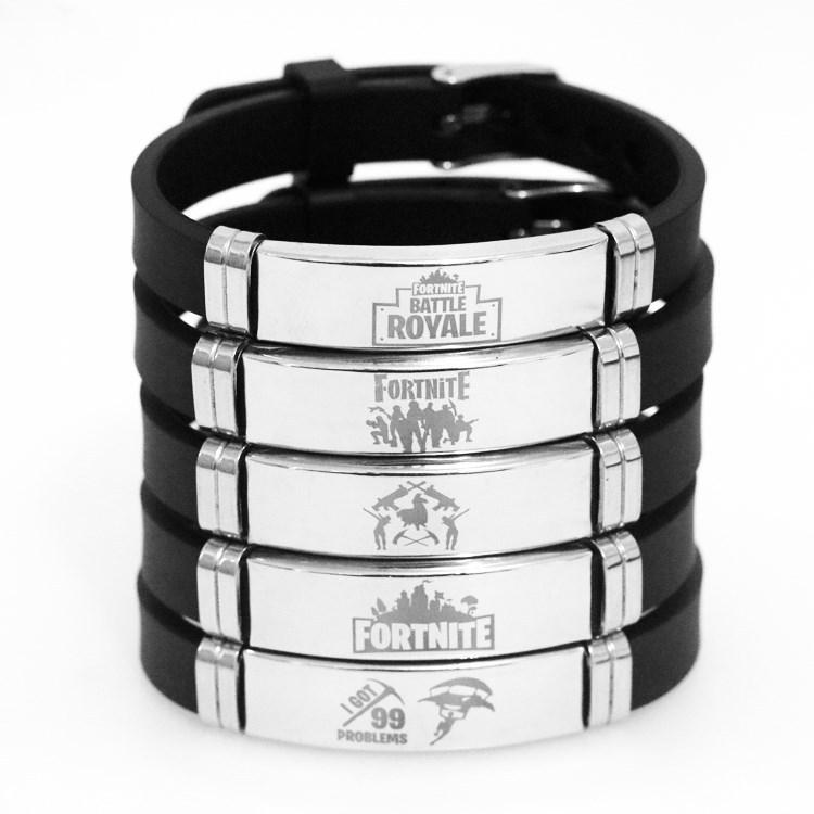 跨境热销游戏周边手饰 Fortnite堡垒之夜吊牌 不锈钢硅胶手环