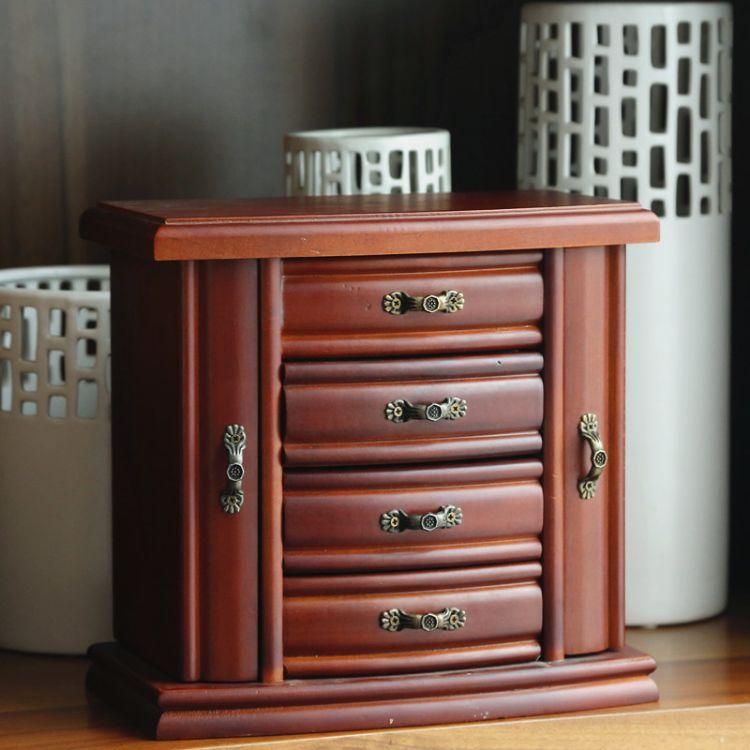 创意欧范木质首饰盒 多层抽屉式收纳盒 珠宝饰品收纳盒储物盒定制