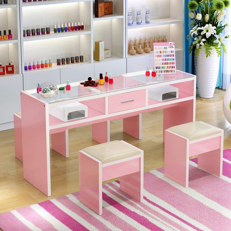 钢化玻璃面美甲桌椅子套装双人单人三人双层美甲店现代简约工作台