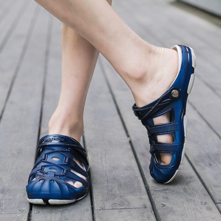 2018夏季新款洞洞鞋果冻鞋男透气凉鞋男包头半拖鞋沙滩鞋厂价批发