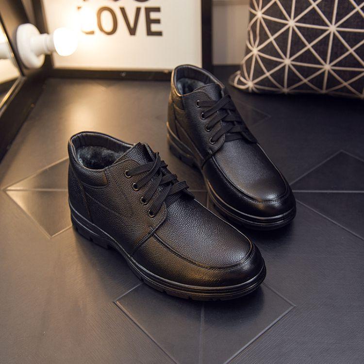 厂家直销爸爸鞋棉鞋冬季真皮男鞋加绒保暖防滑中老年男棉靴休闲鞋