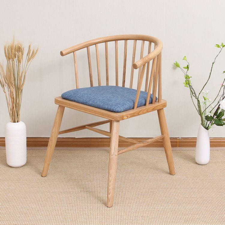 扶手圈椅实木餐椅子 扶手靠背实木椅子白橡木软座休闲实木餐椅