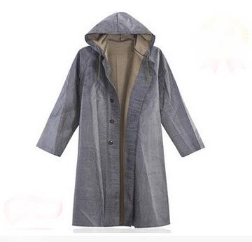 帆布抗洪大褂防水长袖带帽雨衣风衣套头款 成人长款加厚雨披 劳保