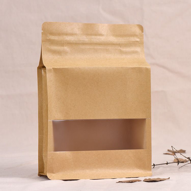 厂家批发定制牛皮纸开窗自封袋 食品包装袋 坚果茶叶自立密封袋