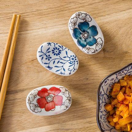 厂家直销陶瓷筷子架创意筷托 筷枕厨房摆台用品碗筷套组日式釉下