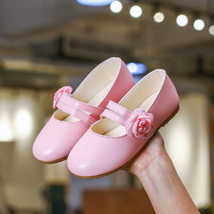 2019新款女童甜美花朵皮鞋新款中小童单鞋平底公主皮鞋软底休闲鞋