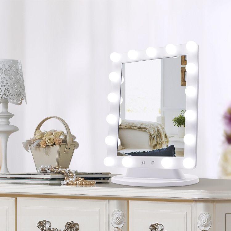欧美风超大LED桌面化妆镜 时尚大气调光灯泡镜 好莱屋明星同款
