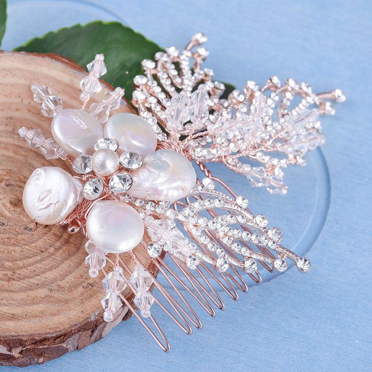 FS02新款欧式婚礼头饰发饰 天然贝壳手工树叶串水晶新娘配饰发梳