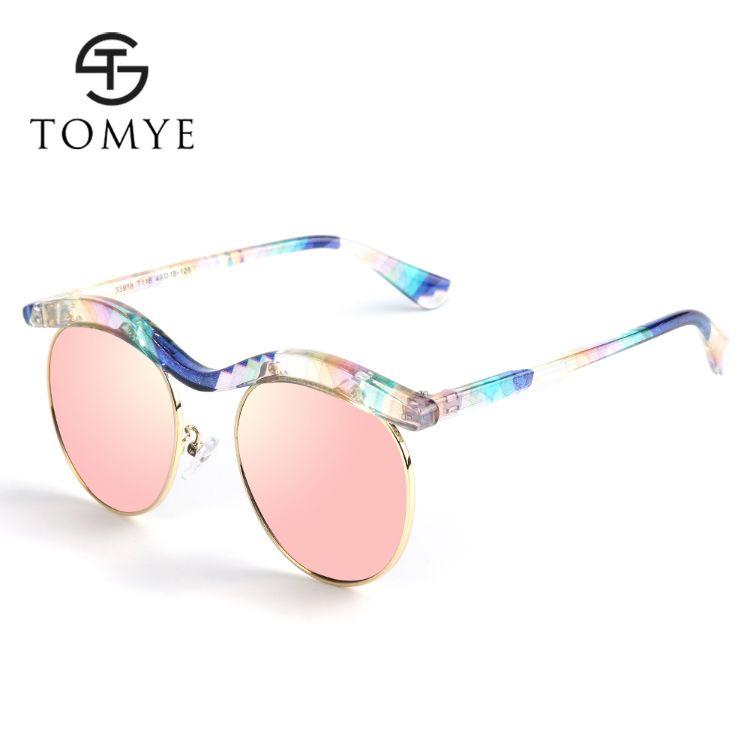 TOMYE 33918 新款时尚炫彩儿童太阳镜 花纹PC半框偏光墨镜批发