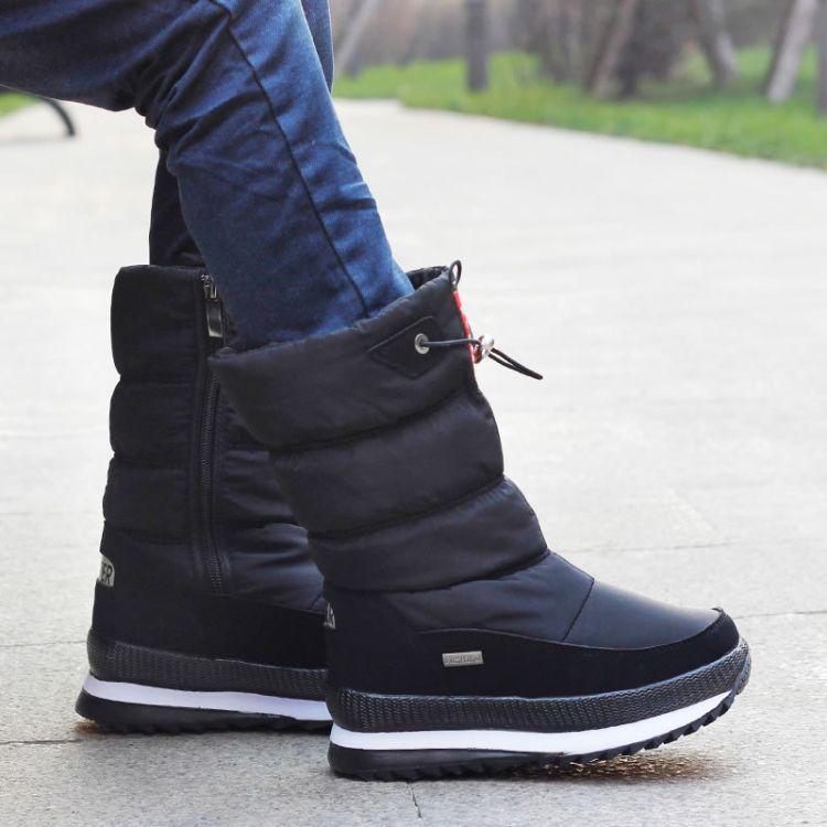 东北冬季雪地靴女大童中筒棉靴子男童雪地鞋保暖加绒防水儿童鞋黑