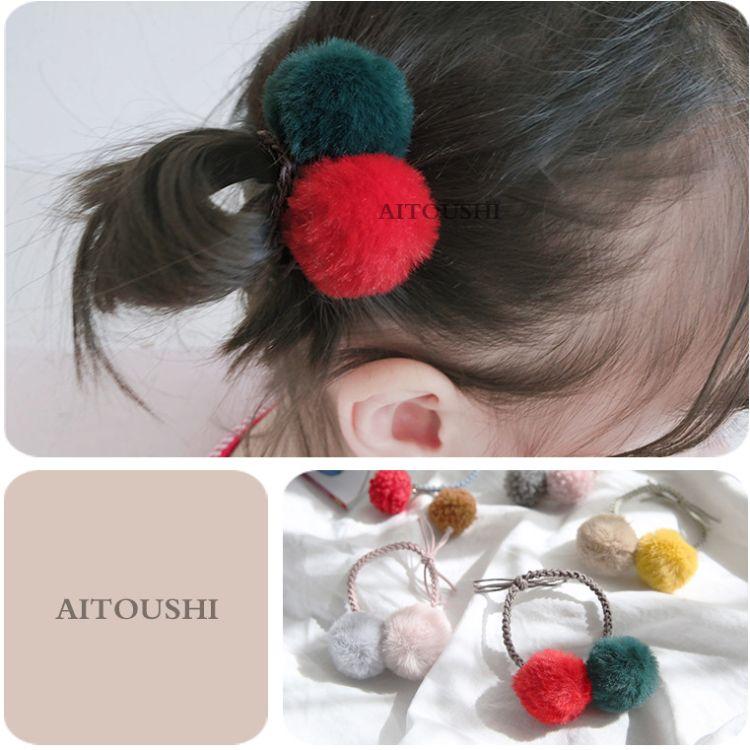 978儿童头饰女童发饰 秋冬可爱绒毛球撞色发绳发圈皮筋  1个
