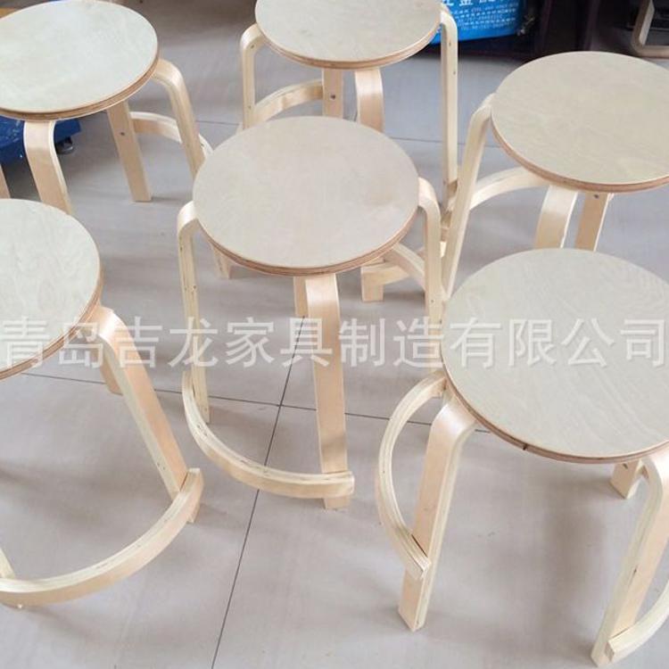 厂家专业供应定制弯曲木圆凳 酒吧高脚凳现货批发加固凳子【图】