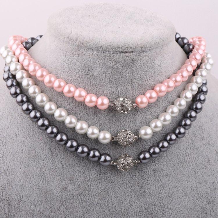 厂家直销外贸韩版珍珠项链 时尚镶钻吸磁扣 礼品毛衣珍珠项链批发
