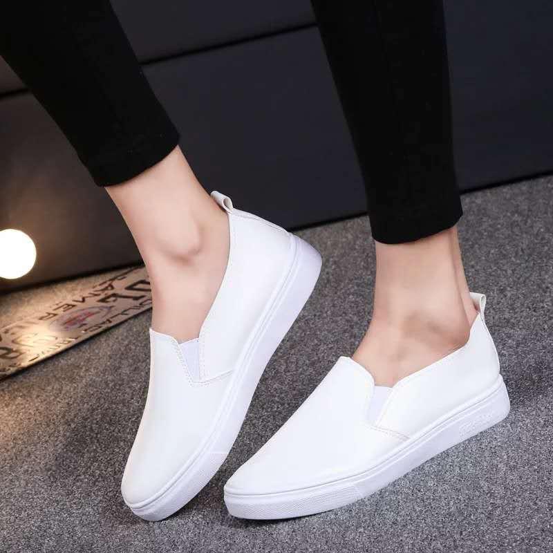 新款女鞋平底护士工作鞋学生单鞋套脚简单韩版百搭软底便宜小白鞋