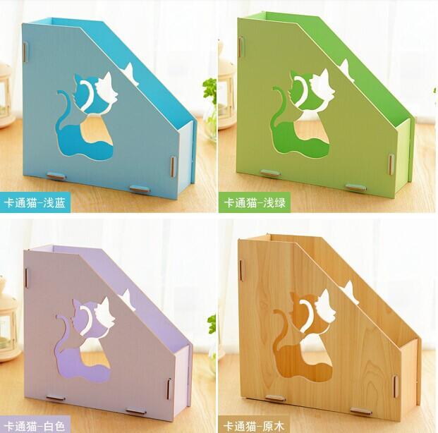 DIY文件架木质猫咪卡通书籍架糖果色桌面整理盒折叠办公文件架子