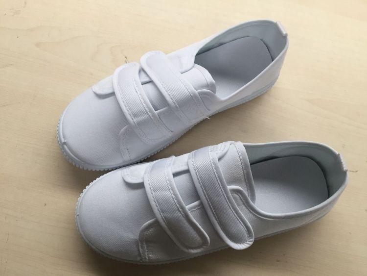 儿童学校指定粘贴小白鞋男童女童幼儿园室内白布鞋宝宝白鞋
