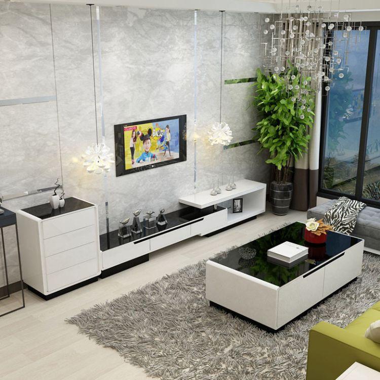 客厅家具电视柜组合可伸缩烤漆钢化玻璃储物影视柜茶几组合套装