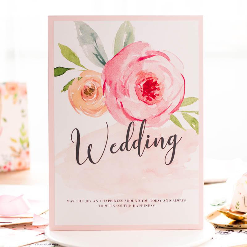 心动森系粉色主题水彩欧式创意签名册礼金簿定制结婚签到本婚礼
