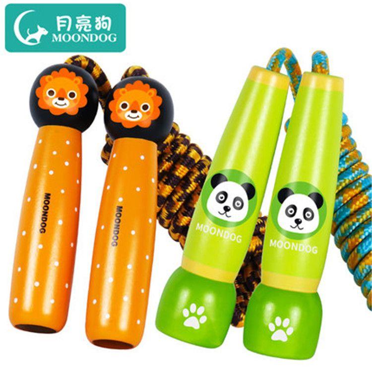 新款月亮狗木制卡通跳绳儿童幼儿园运动文体玩具跳跃地摊热卖