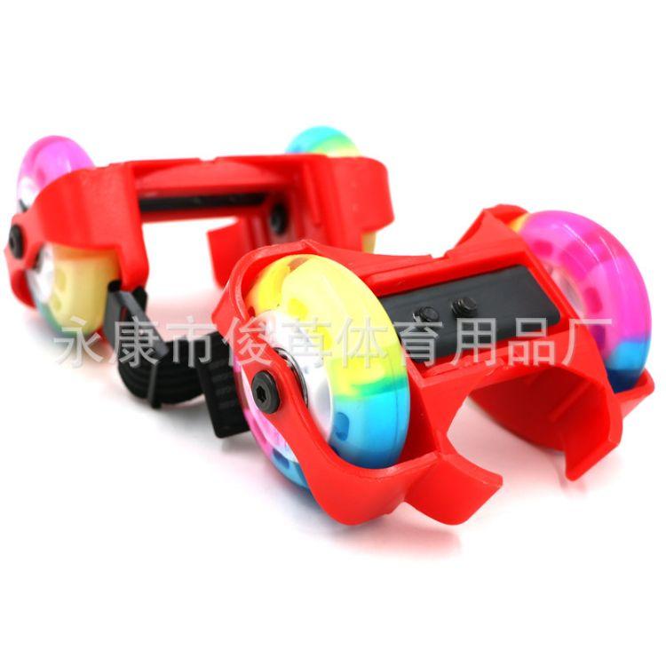 爆款彩色闪光PU水晶轮可调节二代暴走鞋 儿童轮滑鞋风火轮暴走鞋