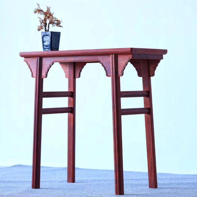 赞比亚紫檀明式插肩隼平头案 无拼补供桌实木条案客厅玄关条几