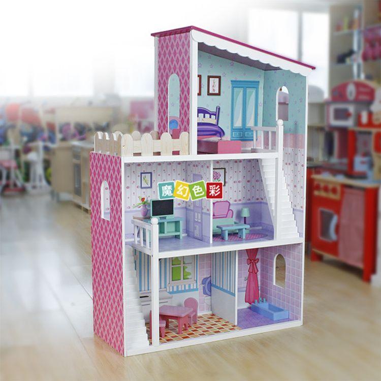 外贸出口 儿童梦幻娃娃屋 女孩心仪大型别墅 特色斜角别墅娃娃屋