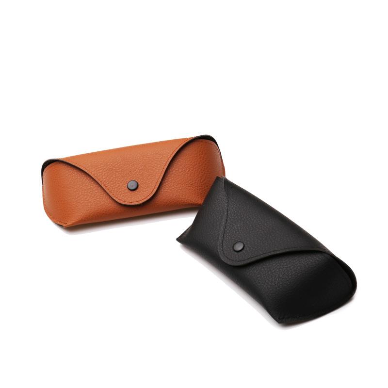 新款外贸太阳镜盒子抗压牛津布眼镜盒纽扣墨镜黑色棕色包装盒批发