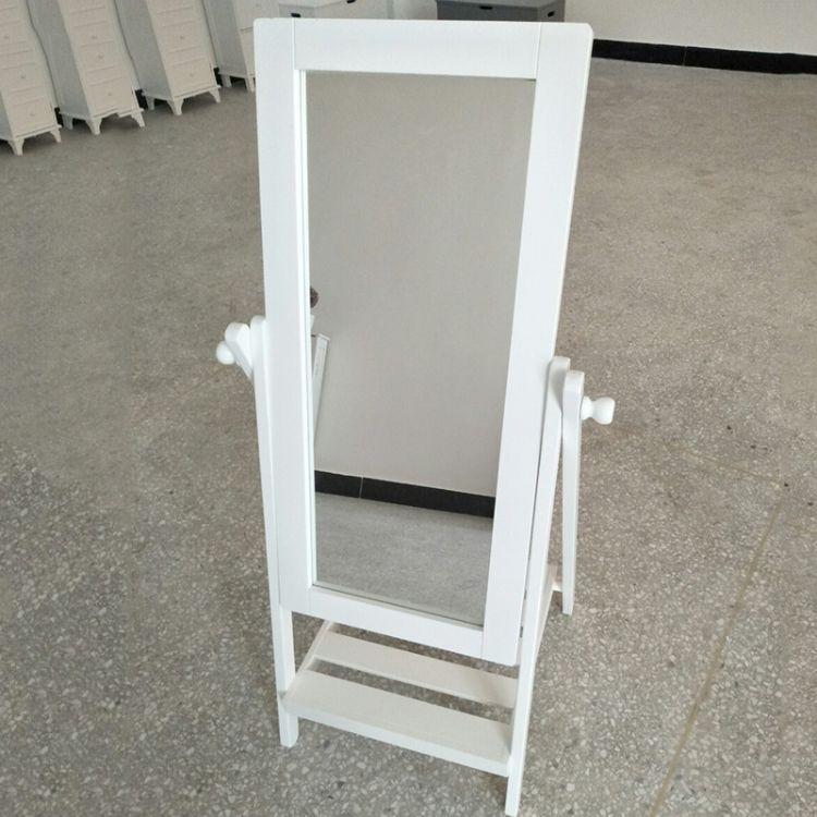 厂家直供 纯白色简约现代儿童镜架梳妆镜 仪容仪表镜全身试衣镜