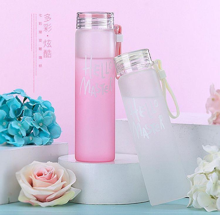 透明定制渐变七彩玻璃杯磨砂炫彩杯子广告水杯学生便携随手杯logo