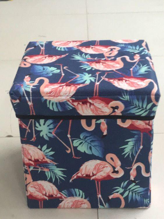 厂家直销新款火烈鸟四方凳、储物袋、可折叠、换鞋收纳凳