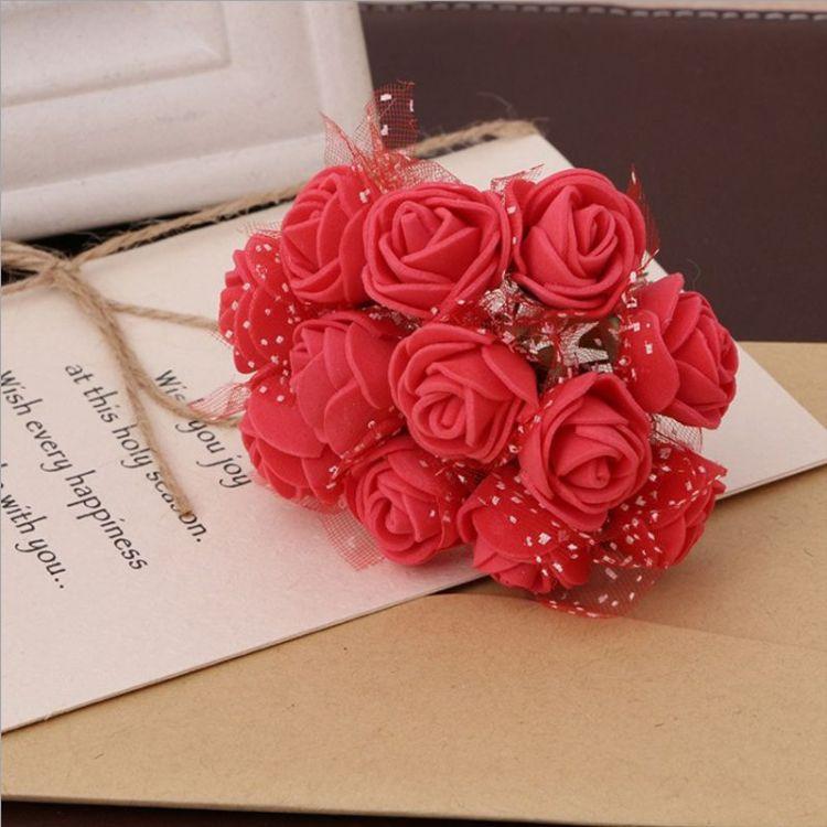 批发喜糖盒包装PE泡沫花 仿真玫瑰 泡沫花头花环编织配件可做胸花